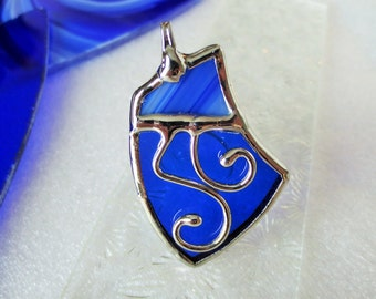 Royal blue stained glass pendant
