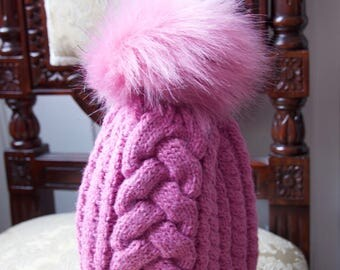 Ski hat with pom pom, beanie hat,  Cable knit hat, fur pom pom hat, womens winter hat, faux fur pom pom,