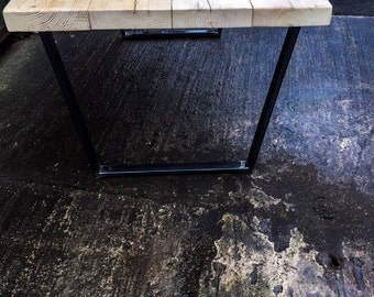 Rikr Trapezium Handmade Industrial Chic Reclaimed Wood with Steel Legs Table. Cafe Bar Restaurant. Custom Made to Order.