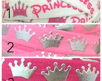 5/8 Tiara Elastic By the Yard, Princess Elastic for Headbands, Princess Tiara Elastic, Princess FOE, Princess Fold Over elastic for hair tie
