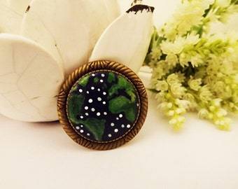 Save Our World Night Brooch. Lovely Vintage Hand Painted Cameo Brooch Polymer Clay Jewelry Nickel Free Antique Bronze