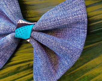 Bow tie in recycled jeans and Wax for hair, shirt collar, accessory hairstyle, fashion accessory