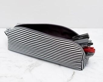 Black and White Striped Box Pencil Case / Zippered Pouch / Brick Pencil case / cube pencil case