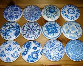 "Blue Vintage Wood Knob size 1.5"" x 1.18"" -  Cherry Wood Knobs Drawer Pull Cabinet Furniture"