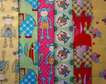 Little Menagerie by Melanie Hurlston (Melly and Me) for Windham Fabrics - Quarter Yard Bundle - 6 pieces