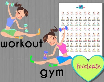 Workout and gym printable planner stickers - brunette brown hair, printable stickers, erin condren, happy planner, fitness, gym, health