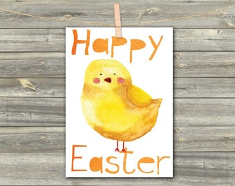 DIGITAL WATERCOLOR CARD Happy Easter chicken yellow download card Greeting Card for girl baby kids card