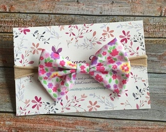 Pink Floral Baby Bow Headband/Bow Headband/Nylon Headband/Nylon Baby Headband/Nylon Bow Headband/Baby Headband/Headband/Newborn Headband