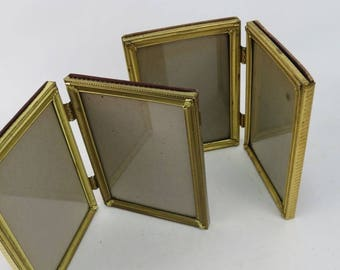 set of 2 vintage hinged dual picture frames complete with glass and backing pieces
