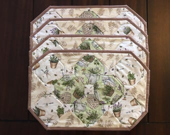 Set Of 4 Placemats, Herbs and Gardening Placemats, Quilted Placemats, Earth Tones Placemats, Place Mat Setting