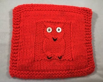 Vintage Bright Red and Black Owl With Button Eyes Hand Knit Pot Holder