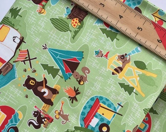 """End of Bolt, Road Trip Main in Green Cotton Fabric from the Road Trip Collection by Riley Blake 17""""x44"""""""