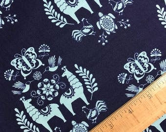 Llama Medallion in Navy from the Juxtaposey Collection by Betz White for Riley Blake, Cotton Fabric, Choose Your Cut