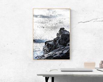 Ocean Print, Beach Wall Art, Ocean Wall Art, Ocean Wave, Beach Print, Water Print, Sea Art, Sea Print, Blue, Beach Print, Tropical Post