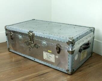 Vintage Aluminium Trunk - 1940s aluminium shipping trunk - military aluminium trunk - vintage luggage