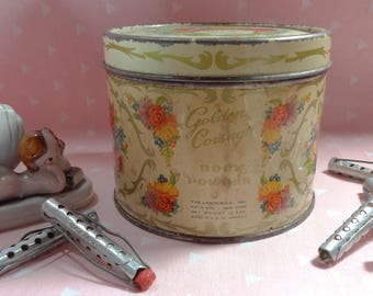 Vintage Powder Tin and Curlers