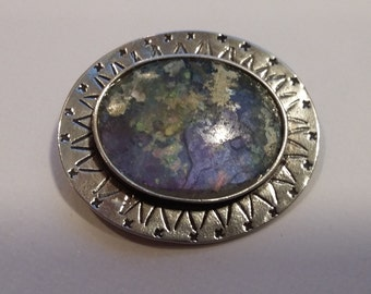 Vintage Sterling Silver, Sodalite Brooch, Signed