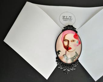 Fashion lady portrait brooch