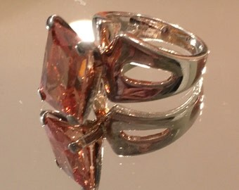 Sterling Silver Statement Ring with Fiery Orange Stone