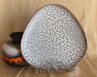 Vintage W Germany Jasba Cortina crackle glazed triangular plate 1960 modernist Pottery