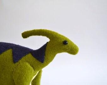 Green Parasaurolophus with navy detail, handmade felt dinosaur
