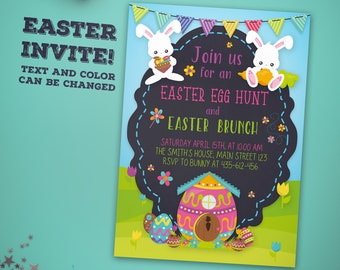 Easter Brunch Invitation - Easter Egg Hunt Party Invitation - Easter Party Invitation - Easter Brunch Party Invitation - Easter Egg Hunt