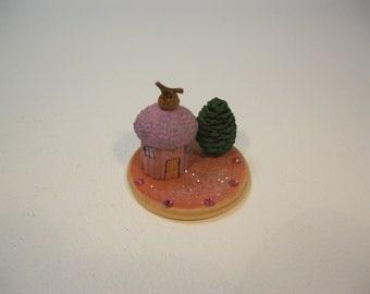 Miniature Pink fairy house on plaque with tree