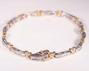 "10K Yellow and White Gold Diamond Baguette Bracelet 1 ct. tw. 7"""