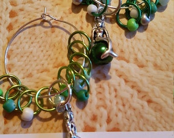 10 small sized snag free ring style stitch markers with a mermaid  stitch marker. Mermaids  jewels. Greens