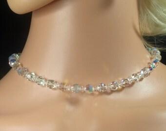 "Vintage, Aurora Borealis Necklace, Signed ""Swarovski"" (2753)"