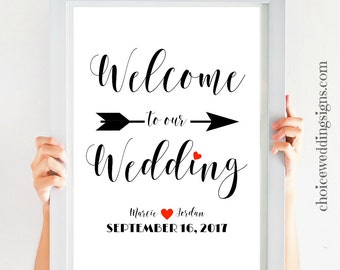 Welcome Wedding Sign Large Wedding Decor Welcome To Our Wedding Printable Available In All Sizes And Colors! - SKU: CWS305_1522C