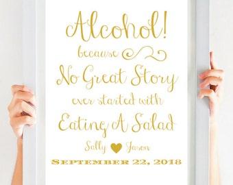 Gold Wedding Signs   Mimosa Bar Sign   Bridal Shower Sign   Bridal Shower Decor   Open Bar Sign   SKU CWS307_0311C