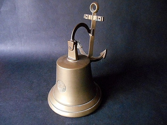 Antique Brass Ships Bell With Anchor Large Wall Hanging