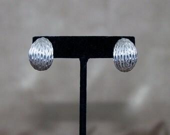 Vintage Sterling Silver Half Hoop Earrings, Silver Dome Earrings