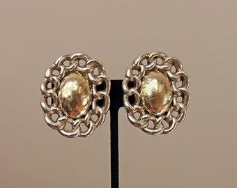 Vintage Sterling Silver Dome Earrings, Sterling Silver Mixed Metal Earrings