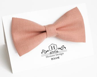 Pink Bow Tie for wedding / linen bow tie for men / bow tie pink / bow tie for baby / pink boy's bow tie, pink necktie, men's pink bow tie