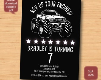 Monster Truck birthday invitation-SELF EDITABLE PDF -5 x 7inch Customisable Printable Birthday Party Invite - Instant Download
