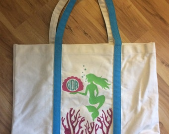 Canvas Tote Bag with Mermaid, Glittered Monogrammed, Shell, and Glittered Coral // Beach Bag // Mermaid Beach Bag // Monogrammed Beach Bag