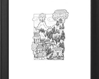 Detailed Original Handmade Fantasy Illustration (Iceclaw Temple)