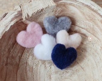 Little hearts in wool - photograhy props - wool