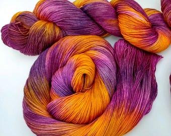 Violettie- Hand dyed yarn, sock weight, Superwash Merino, 463 yards