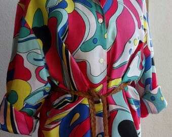 Vintage blouse tunic 80s retired oversize GR 40/42