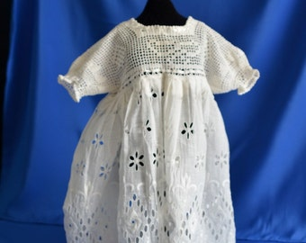 Handmade Vintage Baby Dress 1940's Tatted top & puff sleeve dress