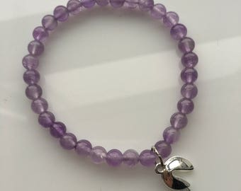 Amethyst Beaded Bracelet with Silver Plated Fortune Cookie Charm