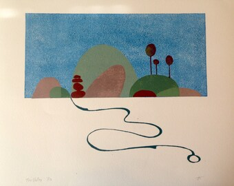 The Valley original linocut print