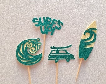 Set of 12 Surf cupcake toppers- surf birthday- surf's up birthday party- aloha party - surf board party - surfer party- surf toppers- surf