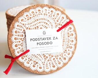 Cork trivet Slovene lace