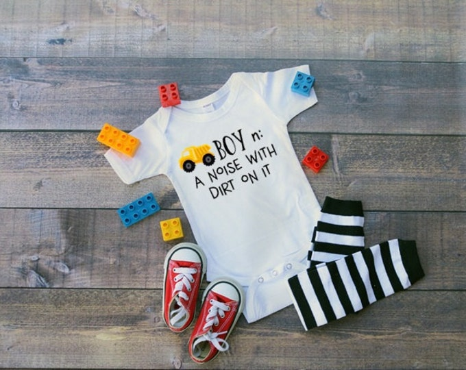 Boy Bodysuit, Dump Truck Shirt, Cute Baby Clothing, Funny Boys' Tee, Baby Shower Gift