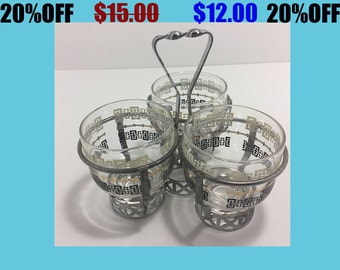 Vintage Mid-Century Condiment Tray Caddy with Three Cups in Metal holder.