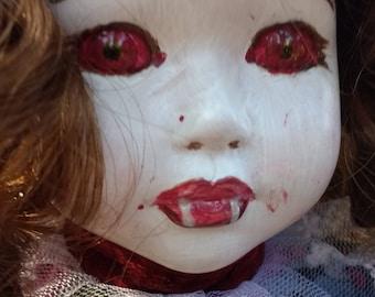 Mara/ vampire/altered doll/art doll/collectable doll/Gothic/horror/dark doll/macabre/creepy doll/Halloween